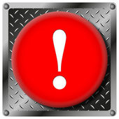 Attention metallic icon — Stock Photo