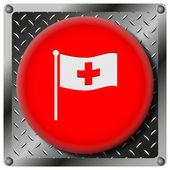 Cross flag metallic icon — Stock Photo