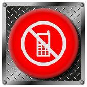 Mobile phone restricted metallic icon — Stock Photo