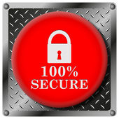 100% безопасный металлический значок — Стоковое фото