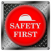 Safety first metallic icon — Stock Photo
