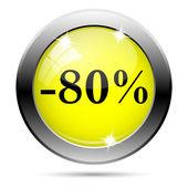 80 procent zniżki ikona — Zdjęcie stockowe