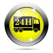 ícone de caminhão de entrega de 24h — Foto Stock