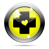 Cross with heart icon — Stock Photo