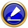 Tooth paste and brush icon — Stock Photo
