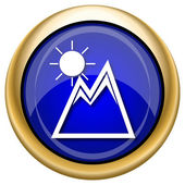 Mountains with sun icon — Stock Photo
