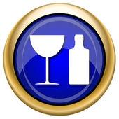 Icône de la bouteille et verre — Photo