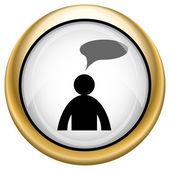 комментарии икона - человек с пузырь — Стоковое фото