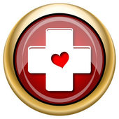 Cross with heart icon — Stockfoto