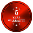 5 year warranty icon — Stock fotografie