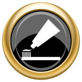 Diente pasta y cepillo de icono — Foto de Stock