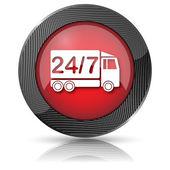 24 7 levering vrachtwagen pictogram — Stockfoto