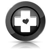 Kruis met hart pictogram — Stockfoto