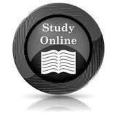 Studují on-line ikonou — Stock fotografie