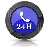 24 小时电话图标 — 图库照片