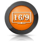 16 9 ícone tv — Foto Stock