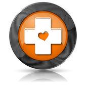 Kříž s ikonou, srdce — Stock fotografie