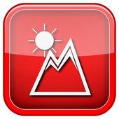 Montagnes avec l'icône de soleil — Photo