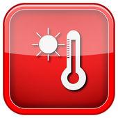 太阳和温度计图标 — 图库照片
