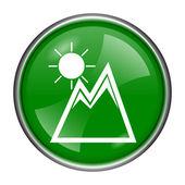 Montanhas com ícone de sol — Foto Stock