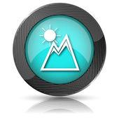 山与太阳图标 — 图库照片