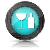 瓶和玻璃图标flaska och glas ikon — Stockfoto
