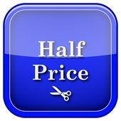 Yarı fiyatına simgesi — Stok fotoğraf