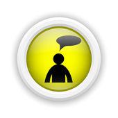 Icono de comentarios - hombre con burbuja — Foto de Stock