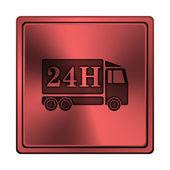 24h leverans lastbil ikonen — Stockfoto