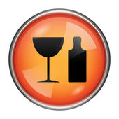 Bottle and glass icon — Stock Photo