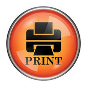 Printer with word PRINT icon — Stock Photo