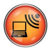 Wireless laptop icon — Stock Photo