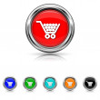 Shopping cart icon - six colours set — Stock Vector #40759559