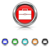 Briefcase icon - six colours set — Stock Vector