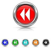 Rewind icon - six colours set — Stock Vector