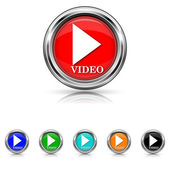 Video play icon - six colours set — Stock Vector