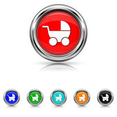 Baby carriage icon - six colours set — Stock Vector