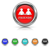 Friends icon - six colours set — Stock Vector