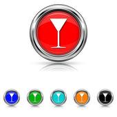 Martini glass icon - six colours set — Stock Vector