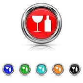 Flasche und glas-icon - set 6 farbenεικονίδιο μπουκαλα με ποτηρι - έξι χρώματα που — Stockvektor