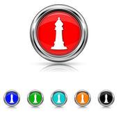 Chess icon - six colours set — Stock vektor