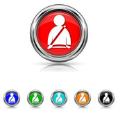 Safety belt icon - six colours set — Stock Vector