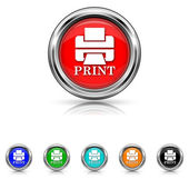 Printer with word PRINT icon - six colours set — Stock Vector