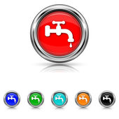 Water tap icon - six colours set — Stock Vector