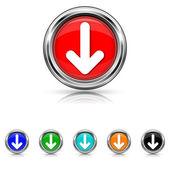 Down arrow icon - six colours set — Stock Vector