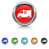 Ambulance icon - six colours set — Stock Vector