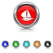 Sailboat icon - six colours set — Stock Vector