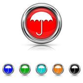 Umbrella icon - six colours set — Stock vektor