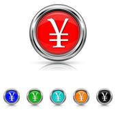 Yen icon - six colours set — Stock Vector