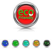 Eco Friendly icon - six colours set — Stock vektor
